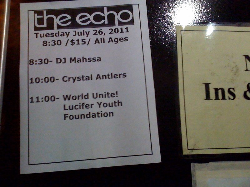 LIVE SHOW REVIEWS: WU LYF w/ Crystal Antlers @ The Echo, L.A. July 26th, 2011